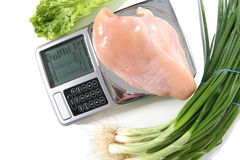 Raw Chicken on Scale Royalty Free Stock Photos