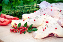 Raw chicken and seasoning Royalty Free Stock Photography