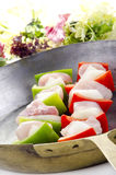 Raw chicken shashlik with pepper Stock Photo