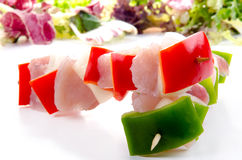 Raw chicken shashlik with pepper Royalty Free Stock Image