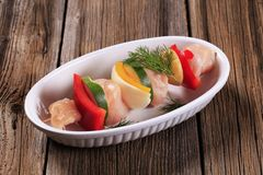 Raw chicken shish kebab Stock Photos
