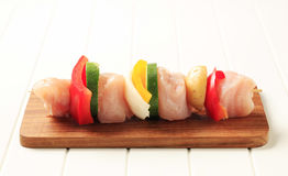 Raw chicken shish kebab Royalty Free Stock Photography