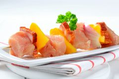 Raw chicken shish kebab Stock Photo