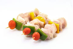 Raw Chicken Shish Kebab. On white background Stock Image