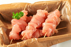 Raw chicken skewers Royalty Free Stock Photos