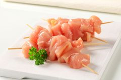 Raw Chicken Skewers Royalty Free Stock Image