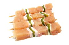 Raw chicken skewers with paprika Stock Photos