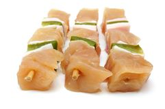 Raw chicken skewers with paprika Royalty Free Stock Photos