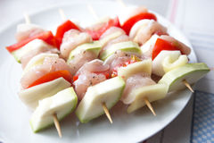 Raw chicken skewers Royalty Free Stock Photography