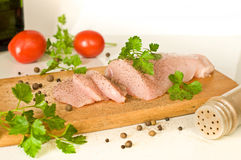 Raw chicken and spices Royalty Free Stock Photography
