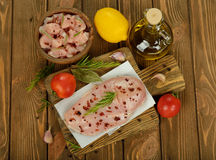 Raw chicken with spices Royalty Free Stock Photos