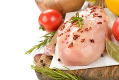 Raw chicken with spices Royalty Free Stock Image