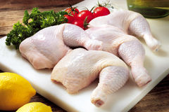 Raw chicken thigh. Preparation of several raw chicken thighs to be marinated or cooked with other food ingredient royalty free stock image