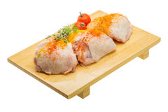 Raw chicken thigh. Ready for cooking stock photo
