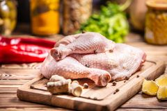Raw chicken thigh. Cuisine, nutrition stock image
