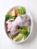 Raw chicken and vegetables Royalty Free Stock Image