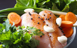 Raw chicken with vegetables. Raw chicken breast with vegetables ready to be prepared stock photos