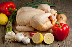 Raw chicken with vegetables Royalty Free Stock Photo