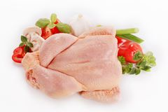 Raw chicken and vegetables. Raw chicken and fresh vegetables - overhead Stock Images