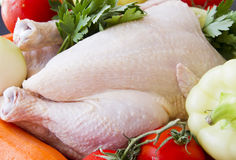 Raw chicken and vegetables. Ready to be prepared stock image
