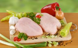 Raw chicken and vegetables Stock Image
