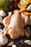 Raw chicken and vegetables for cooking soup closeup. vertical Stock Image