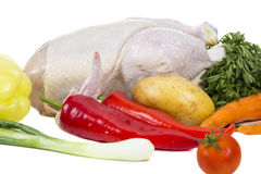 Raw chicken with vegetables Stock Image