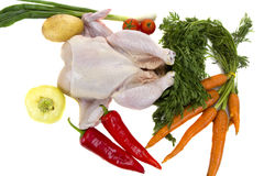 Raw chicken with vegetables Royalty Free Stock Photos