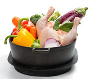 Raw chicken with vegetables Royalty Free Stock Photography