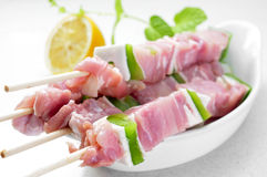 Raw chicken and vegetables skewers Stock Photos