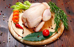 Raw - chicken with vegetables Royalty Free Stock Photos