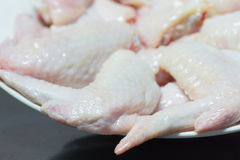 Raw chicken wings get ready for cooking. Fresh raw chicken wings on white dish, get ready for cooking Stock Image