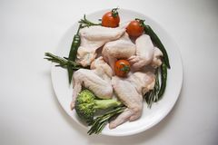 Raw chicken wings with  rosemary spicy Royalty Free Stock Photography