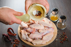 Raw chicken wings with spices - ready for cooking Royalty Free Stock Photography