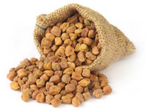 Raw Chickpea with sack Stock Photo