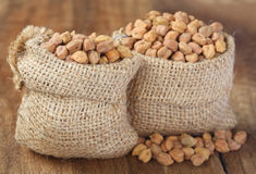 Raw Chickpea with sack Stock Photography