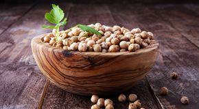 Raw Chickpeas on a bowl. Chickpeas is nutritious food. Healthy a. Nd vegetarian food Stock Photo