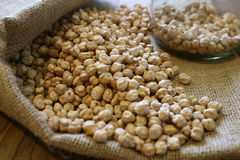 Raw chickpeas or garbanzo beans , photographed with natural ligh Stock Photo