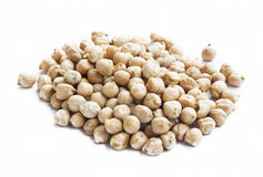 Raw Chickpeas Isolated on White Royalty Free Stock Photos