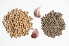 Raw chickpeas and lentils. Stock Photos