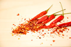 Raw chili and chili flakes Stock Photography