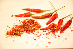 Raw chili and chili flakes Royalty Free Stock Photo