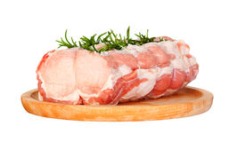 Raw chine of pork. On white background Stock Photo