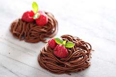 Raw chocolate pasta nests with raspberry Stock Photos