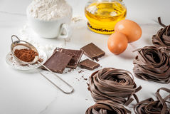 Raw chocolate pasta Royalty Free Stock Images