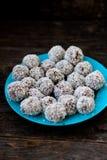 Raw chocolate truffles Stock Photo