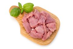 Raw chopped beef meat pieces isolated om white background cut ou. T Royalty Free Stock Photos
