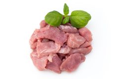 Raw chopped beef meat pieces isolated om white background cut ou. T Stock Photography