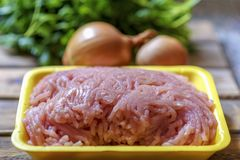 Raw chopped chicken meat, fresh parsley and onion. stock image
