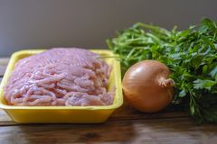 Raw chopped chicken meat, fresh parsley and onion. royalty free stock images